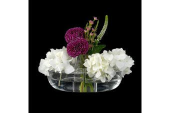 (Bateau) - Amazing Abby Vase Bateau - Acrylic Vase with Flower Frog for Easy Fresh Floral Arrangement, Shatter-Proof and Ultra-Safe (18cm (L) x 12cm (W) x 8.4cm (H)) (Flowers NOT Included)