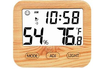 (Wooden) - Digital Hygrometer Indoor Thermometer, Humidity Gauge Indicator Room Thermometer, Built-in Clock and Time Display,Accurate Temperature Humidity Monitor Metre for Home, Office, Greenhouse (Wooden)