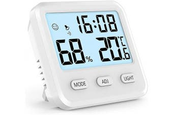 (White) - Digital Hygrometer Indoor Thermometer, Humidity Gauge Indicator Room Thermometer, Built-in Clock and Time Display,Accurate Temperature Humidity Monitor Metre for Home, Office, Greenhouse (White)