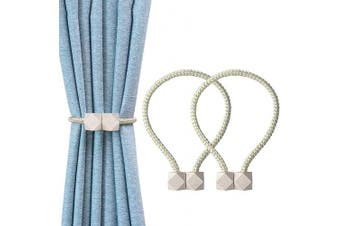 (White) - YOLIFE Strong Magnetic Curtain Tiebacks, Octagon Style Curtain Holdbacks Unique Designed Tie Backs for Curtain Drape Holder Braided Rope Holdback(Linght Beige, 2 Pack(41cm ))