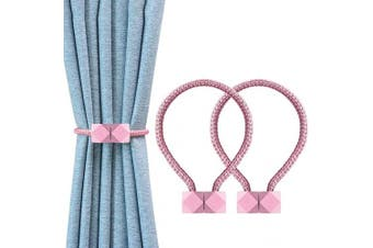 (Pink) - YOLIFE Strong Magnetic Curtain Tiebacks, Octagon Style Curtain Holdbacks Unique Designed Tie Backs for Curtain Drape Holder Braided Rope Holdback(Pink, 2 Pack(41cm )) …