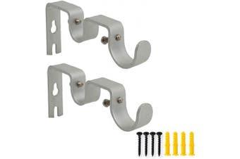 (Silver) - AddGrace 2 PCS Double Curtain Rod Bracket Heavy Duty Vintage Curtain Rod Holder for 2.5cm and 1.6cm Rod (Silver)