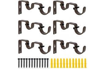 (6 Pcs Brown) - AddGrace 6 PCS Double Curtain Rod Bracket Heavy Duty Vintage Curtain Rod Holder for 2.5cm and 1.6cm Rod (6 pcs Brown)