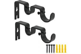 (Black) - AddGrace 2 PCS Double Curtain Rod Bracket Heavy Duty Vintage Curtain Rod Holder for 2.5cm and 1.6cm Rod (Black)