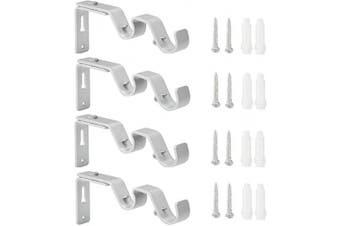 (4pcs Silver) - Anndason Heavy Duty Curtain Rod Brackets Adjustable Double Rod Holders 3/4 and 1.6cm Rod (Set of 4, Silver)