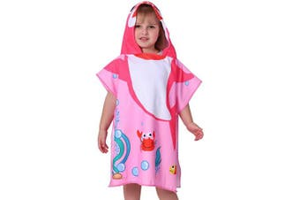 (Pink Shark) - Agetp Kids Hooded Towel for Swimsuit Cover Up for Beach, Pool, Bath Super Soft and Absorbent 100% Microfiber 60cm W x 60cm L Oversized Poncho Robes Towel for Toddlers Under Age 6