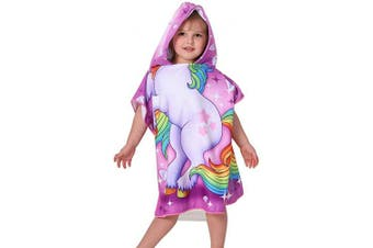 (White Unicorn) - Agetp Kids Hooded Towel for Swimsuit Cover Up for Beach, Pool, Bath Super Soft and Absorbent 100% Microfiber 60cm W x 60cm L Oversized Poncho Robes Towel for Toddlers Under Age 6