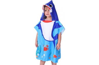 (Blue Shark) - Agetp Kids Hooded Towel for Swimsuit Cover Up for Beach, Pool, Bath Super Soft and Absorbent 100% Microfiber 60cm W x 60cm L Oversized Poncho Robes Towel for Toddlers Under Age 6