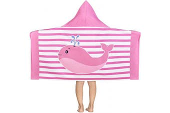 (60cm  x 120cm , Pink) - Dolphin Water Spray Kids Hooded Beach Towel, Pink and White Stripes Toddler Towels for Girls, Soft and Absorbent Coverup Hooded Kids Beach Towel for Beach, Bath, Swim, Pool