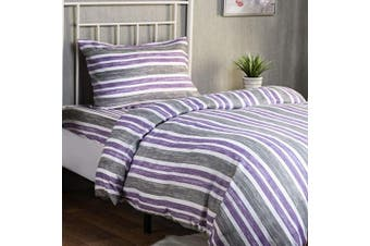 (Cabana Stripe Lilac, 1 Pack) - XLNT Premium Twin Bedding Set (3 Piece) | Twin Size Duvet Cover/Comforter Cover, Bed Sheet, Pillow Cover | Super Soft Cotton Blend, Deep Pockets, Machine Washable For Kids (Boys & Girls) Or Guest Room