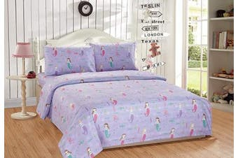 (Full) - Mk Home 4pc Full Size Sheet Set for Girls Mermaids Fishes Aqua Lavender Pink New (Full)