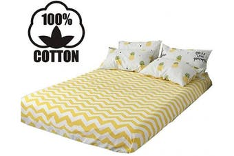 (Twin, Yellow-2) - AOJIM 100% Cotton Vibrant Colours Printing Fitted Sheet Twin Size 100cm x 190cm with 38cm Deep Pocket Design Yellow Wave Mattress Cover for Kids/Adults