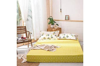 (Queen, Yellow-1) - AOJIM 100% Cotton Printing Fitted Sheet Queen Size 150cm x 200cm with 38cm Deep Pocket Design Yellow Mattress Cover for Kids/Adults
