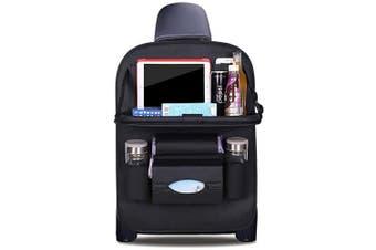 (Black) - DOBEST Car Seat Back Organiser Foldable Dining Table Holder Tray Bottles Holder Multifunctional Protector Storage Bag Kick Mat Travel Accessory PU Leather - Black