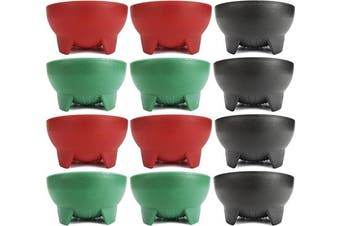 (12, Black, Green, Red) - Set of 12 Black Duck Brand 11cm Diameter Salsa Bowls! Black Salsa Bowls Perfect for Parties, Events, and More!