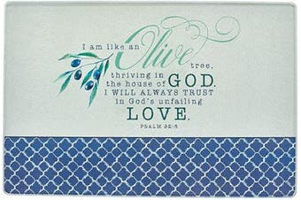 (Medium, Olive Branch) - Christian Art Gifts Tempered Glass Cutting Board Tray/Trivet | In God's Unfailing Love – Psalm 52:8 Bible Verse | Olive Branch Inspirational Home and Kitchen Décor
