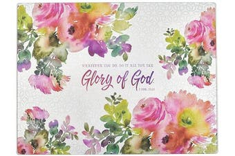 (Large, Glory of God) - Christian Art Gifts Tempered Glass Cutting Board Tray/Trivet | For The Glory of God – 1 Corinthians 10:31 Bible Verse | Floral Inspirational Home and Kitchen Décor