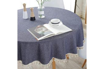 (Round,150cm , Tassels Blue) - Bringsine Stitching Tassel Tablecloth Heavy Weight Cotton Linen Fabric Dust-Proof Table Cloth Cover Kitchen Dinning Tabletop Decoration(Round,150cm , Blue)