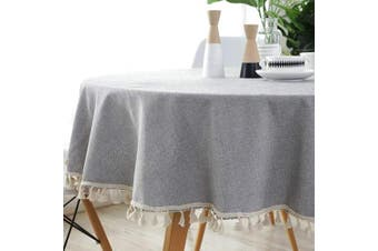 (Round,150cm , Tassels Gray) - Bringsine Stitching Tassel Tablecloth Heavy Weight Cotton Linen Fabric Dust-Proof Table Cloth Cover Kitchen Dinning Tabletop Decoration(Round 150cm , Grey)