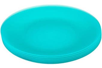 (Green) - Coza Design- Unbreakable and Reusable Plastic Plate Set- BPA Free- Set of 6 (Green)