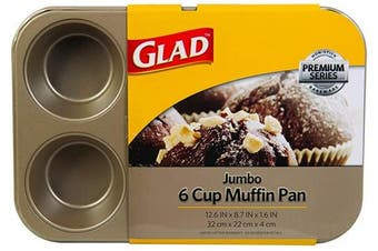 (Jumbo 6-Cup) - Glad Cupcake and Muffin Pan – Premium Non-Stick Oven Bakeware, Whitford Gold, Jumbo 6-Cup