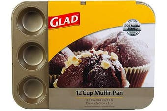 (12-Cup) - Glad Cupcake and Muffin Pan – Premium Non-Stick Oven Bakeware, Whitford Gold, 12-Cup