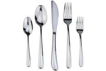 (4 SET, Silver) - Flatware Set, Silverware, 18/10 Stainless Steel Cutlery Mirror Polished by Dealight - 20 Pieces for 4 People