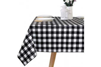 """(54"""" x 72""""-140x185 cm, Black&white) - LEEVAN Buffalo Plaid PVC Tablecloth Chequered Gingham Heavy Duty Table Cloth Rectangle Spillproof,Washable Polyester Table Cover for Kitchen Dinner- 140cm x 180cm (Black and White Plaid)"""