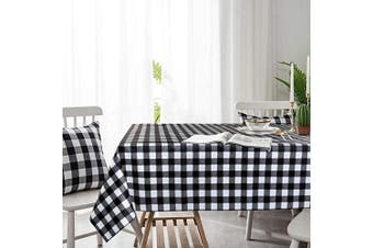 """(54"""" x 54""""-140x140 cm, Black&white) - LEEVAN Buffalo Plaid PVC Tablecloth Chequered Gingham Heavy Duty Table Cloth Rectangle Spillproof,Washable Polyester Table Cover for Kitchen Dinner- 140cm x 140cm (Black and White Plaid)"""