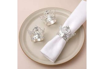 (12, Silver Crown) - AW BRIDAL Silver Napkin Rings Set of 12 Crown Rhinestone Napkin Rings for Wedding Party Banquet Events Easter Napkin Rings