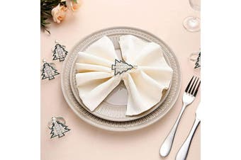 (4, Christmas Tree) - AW BRIDAL Silver Napkin Rings Set of 4-Christmas Tree Napkin Holder Rings for Halloween Thanksgiving Holidays Dinner Parties or Everyday Use