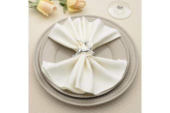 (6, Silver Deerlet) - AW BRIDAL Napkin Rings Set of 6 - Silver Napkin Rings Holiday Wedding Thanksgiving Christmas Easter