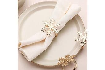 (6, Snowflake) - AW BRIDAL Snowflake Napkin Rings Set of 6 for Christmas New Year Holidays Dinner Parties Weddings Receptions or Everyday Use,Light Gold