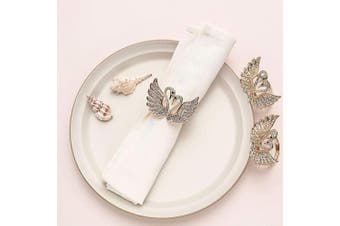 (4, Swan) - AW BRIDAL Rhinestone Napkin Rings Set of 4 Double Swan Napkin Holder Rings for Wedding Banquet Birthday Holiday Daily Dinner Easter Decorations