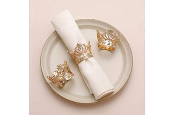 (6, Gold Crown) - AW BRIDAL Gold Napkin Rings Set of 6 Crown Rhinestone Napkin Rings for Wedding Party Dinner Table Decor Easter Napkin Rings
