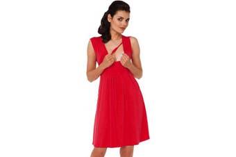 (16, Red) - Zeta Ville - Women's Maternity Nursing A-line Dress Pockets - Sleeveless - 500c