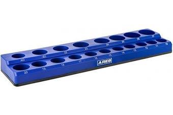 (1.3cm  Drive, Blue) - ARES 60010 - Blue 19-Piece 1.3cm Metric Magnetic Socket Organiser - Holds 18 Sockets and 1 Socket Adapter - Keeps Your Tool Box Organised