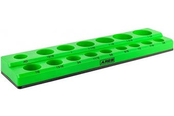 (1.3cm  Drive, Green) - ARES 60009 - Green 16-Piece 1.3cm SAE Magnetic Socket Organiser - Holds 15 Sockets and 1 Socket Adapter - Keeps Your Tool Box Organised