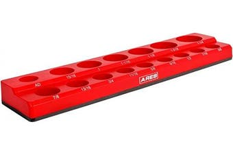 (1.3cm  Drive, Red) - ARES 70236-16-Piece 1.3cm SAE Magnetic Socket Organiser - Holds 15 Sockets and 1 Socket Adapter - Keeps Your Tool Box Organised