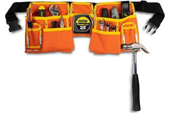 (Orange and Yellow) - 11 Pocket Orange and Yellow Heavy Duty Construction Tool Belt, Work Apron, Tool Pouch, with Adjustable Poly Web Belt Quick Release Buckle