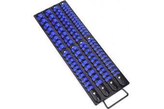(Blue Clips) - CASOMAN 80-Piece Heavy Duty Socket Organiser Tray, 0.6cm , 1cm , 1.3cm ,Premium Quality Socket Holders,Black Rails with Blue Clips, Best Unique Tool Gift for Men