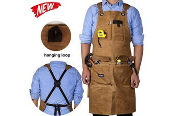 Waxed Canvas Shop Apron for Men & Women.Woodworking Aprons Heavy Duty Work Apron with Pockets. Big Bulk Tool Apron with Adjustable Cross-Back Strap.Adjustable S to XXL (Brown)