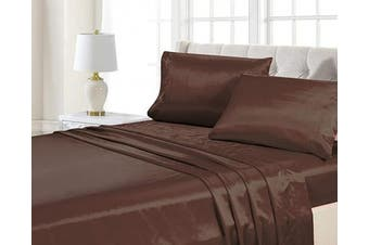 (California King, Brown) - Home Collection 4pc California King Size Satin Sheet Set Solid Brown/Coffee Super Soft Touch Bridal New
