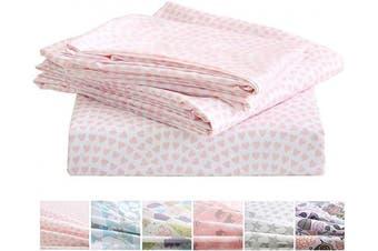 (Twin, Pink Heart) - Vonty Kids Sheets Twin Super Soft Pink Heart Cartoon Printed Microfiber Bed Sheet Set for Girls (1 Fitted Sheet + 1 Flat Sheet + 1 Pillowcase)