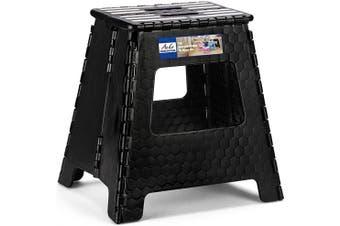 (Black) - ACSTEP Step Stool 41cm Upgraded Folding Step Stool, Kitchen Stepping Stool, Plastic Step Stool Foldable Step Stool for Adults,Black