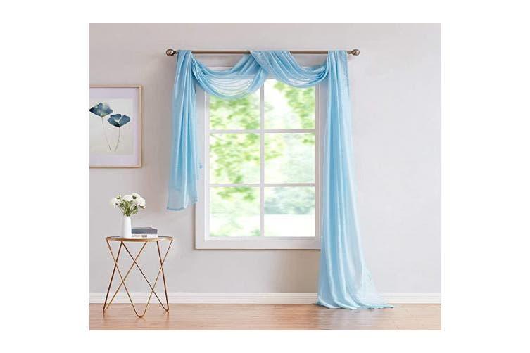 1 Scarf 140cm X 370cm Baby Blue Linenzone Karina Semi Sheer Window Scarf 140cm Width X