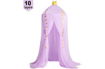 (Purple) - Jolitac Princess Bed Canopy for Kids Room Decor Round Lace Mosquito Net Play Tent Baby Beding Canopys Yarn Girls Dome Netting Curtains Girls Games House Pink Castle (Purple)