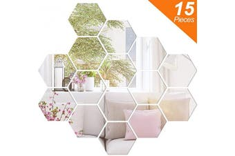 (8.9cm ) - BBTO 15 Pieces Mirror Sheets Flexible Non Glass Mirror Plastic Mirror Self Adhesive Tiles Mirror Wall Stickers (8.9cm )