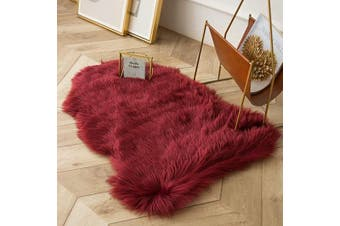 (0.6m x 0.9m Sheepskin, Dark Red) - Ashler Ultra Soft Fluffy Area Rug Faux Fur Sheepskin Carpet Chair Couch Cover for Bedroom Floor Sofa Living Room, Dark Red 0.6m x 0.9m
