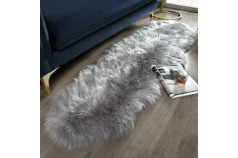 (0.6m x 1.8m Sheepskin, Grey) - Ashler Ultra Soft Fluffy Area Rug Faux Fur Sheepskin Carpet Chair Couch Cover for Bedroom Floor Sofa Living Room, Grey 0.6m x 1.8m